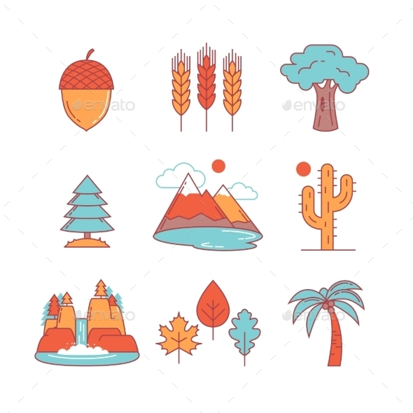 Nature And Forest Thin Line Icons Set - Icons