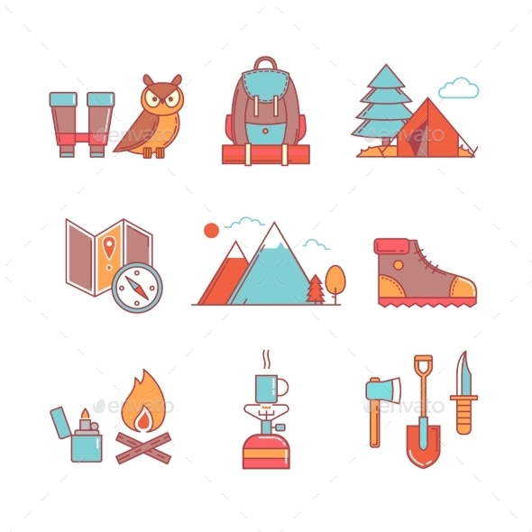 Forest And Mountains Hiking Thin Line Icons Set - Icons