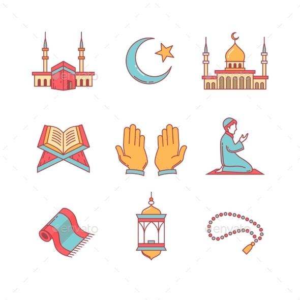 Muslim Islam Prayer And Ramadan Kareem - Abstract Icons