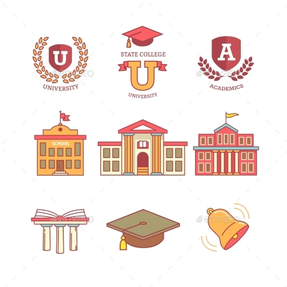 Education, School, Academy, College And University - Icons