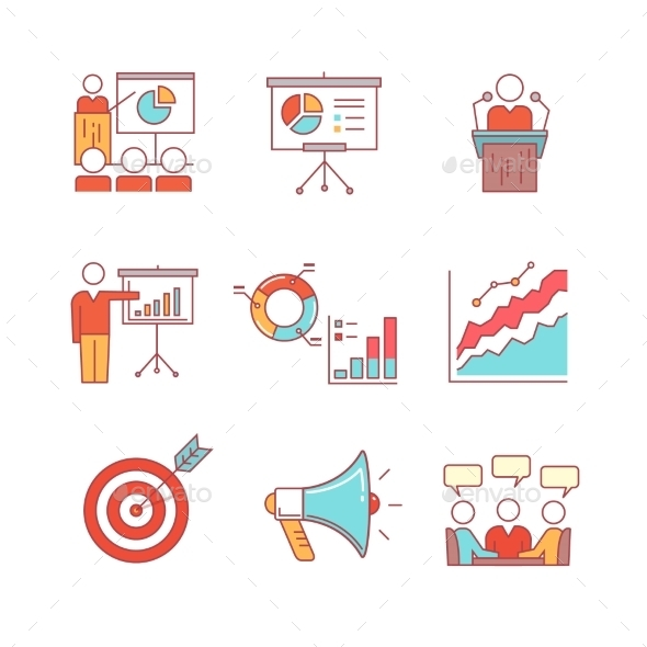 Business Presentation, Education, Seminar, Lecture - Business Icons