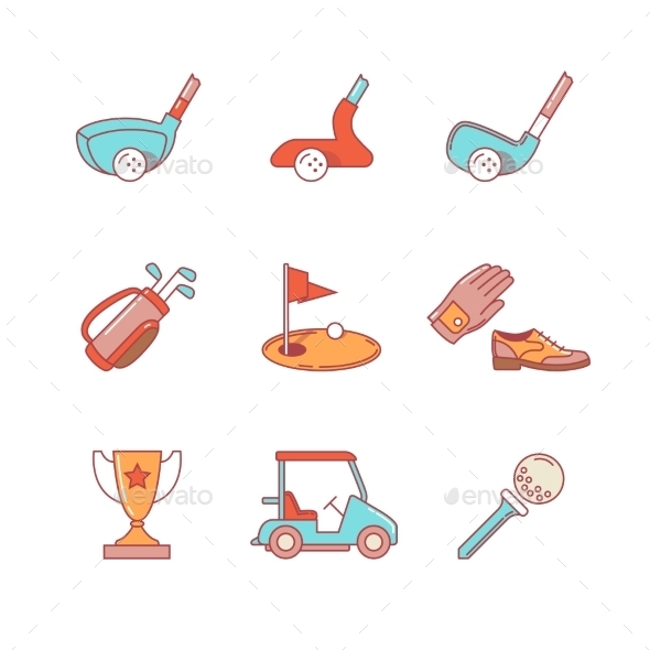 Golf Sport And Equipment Thin Line Icons Set - Icons