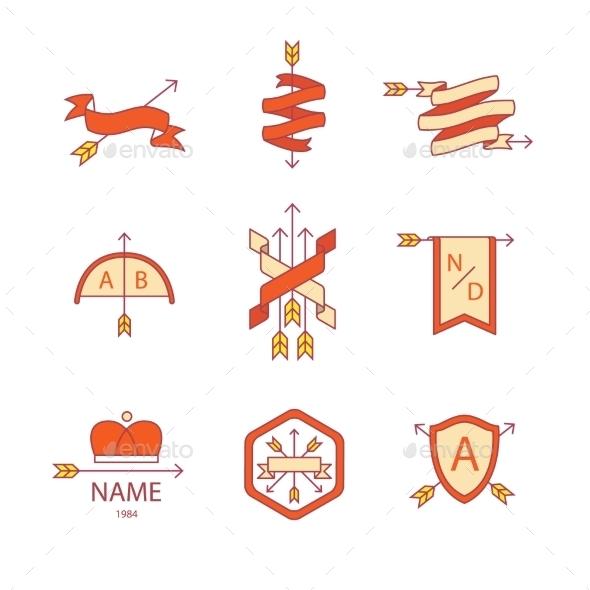 Arrow Ribbon Logo And Emblem Thin Line Icons Set - Icons