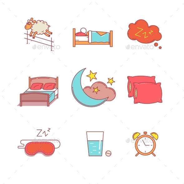Sleeping, Bedtime Rest And Bed Thin Line Icons Set - Icons