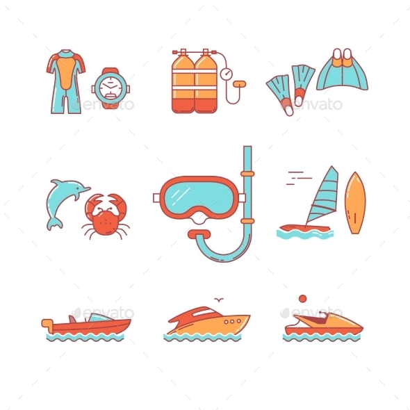 Diving And Freediving Equipment, Boats - Icons