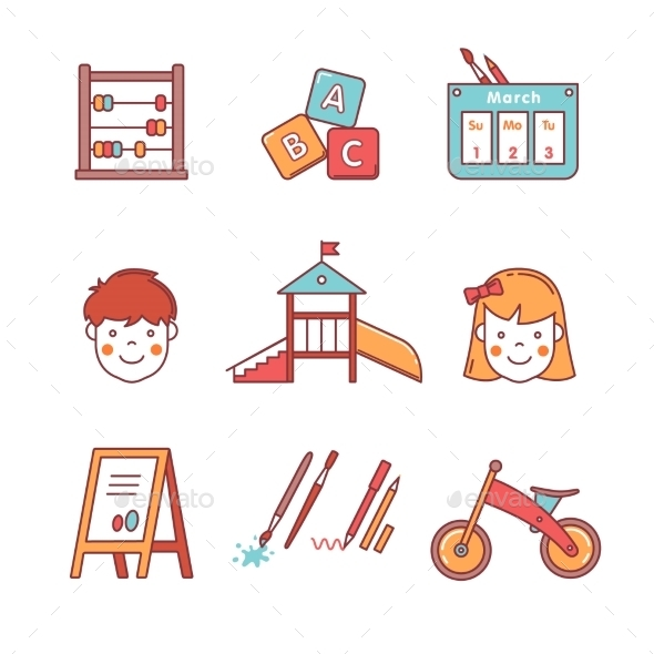Kindergarten Education Equipment. Girl And Boy - Objects Icons