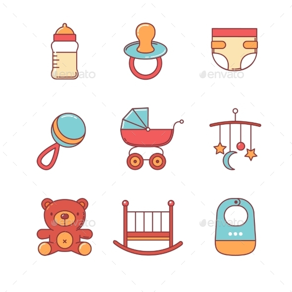 Baby Icons Thin Line Set - Objects Icons