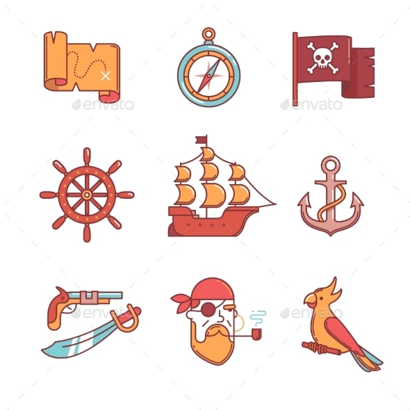 Pirate Icons Thin Line Set - Abstract Icons