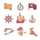 Pirate Icons Thin Line Set - GraphicRiver Item for Sale