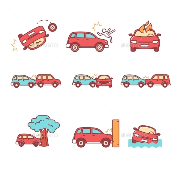 Car Crash And Accidents - Objects Icons