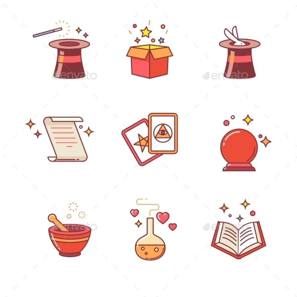 Magic And Magician Tools - Objects Icons