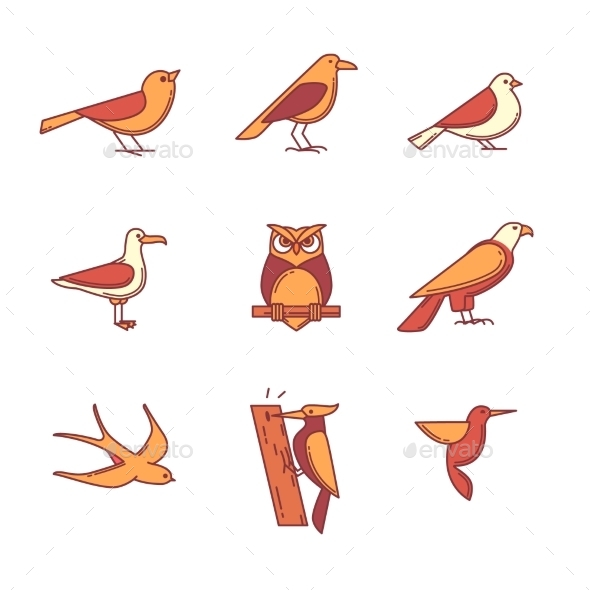 Birds Icons Thin Line Set - Animals Characters