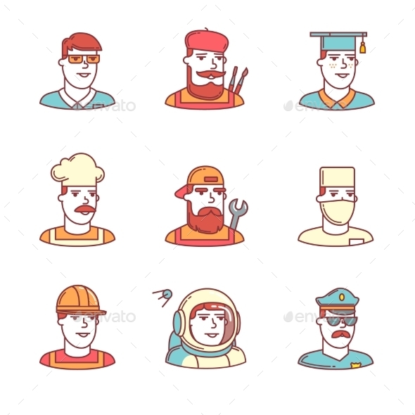 People Professions Paces Icons Thin Line Set - People Characters