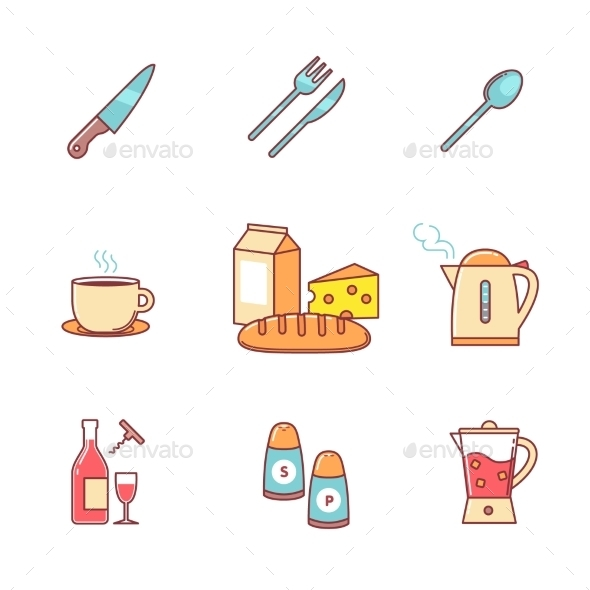 Food And Drink Icons Thin Line Set - Food Objects