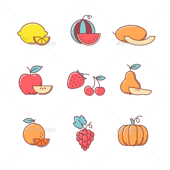 Fruit Icons Thin Line Set - Food Objects