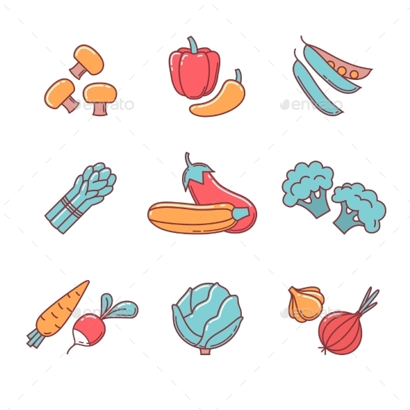 Vegetable Icons Thin Line Set - Food Objects