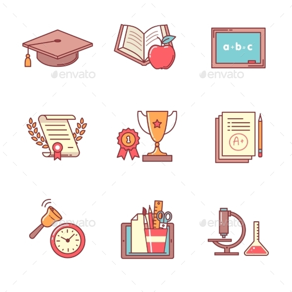 Education Icons Thin Line Set - Abstract Icons