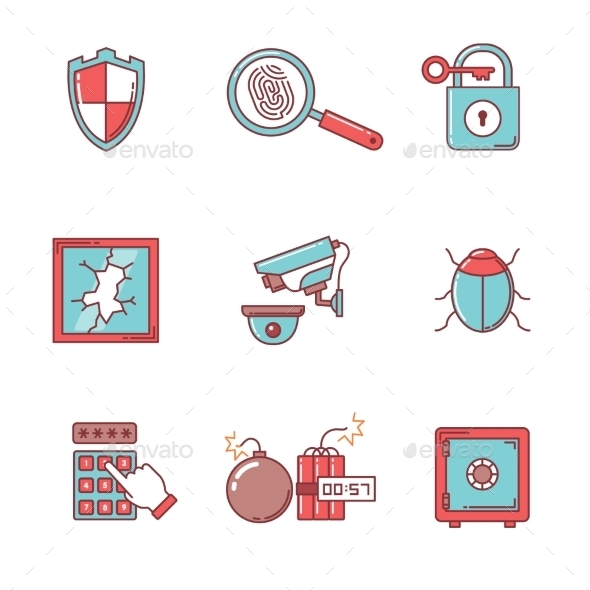 Security And Cybersecurity Icons Thin Line Set - Abstract Icons