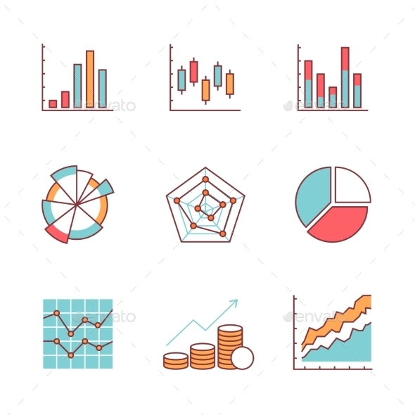 Business Charts And Data Icons Thin Line Set - Business Icons