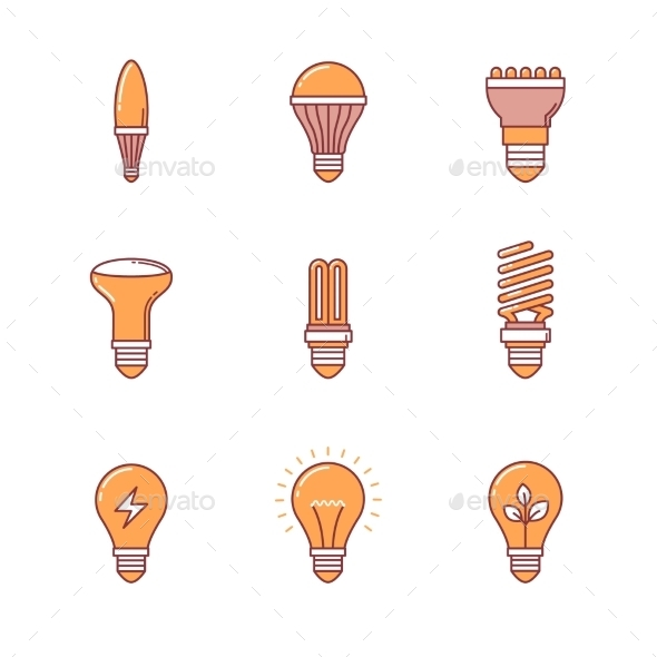 Light Bulb Icons Thin Line Set - Man-made objects Objects