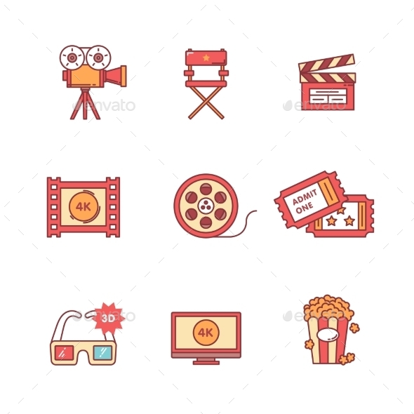 Movie, Film And Video Icons Thin Line Set - Objects Icons