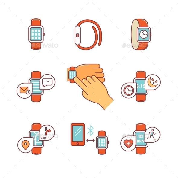 Thin Line Icons Set. Modern Smart Watches And Apps - Technology Icons