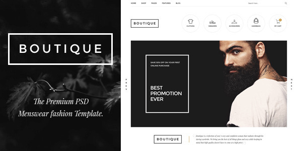 Boutique - Menswear Fashion PSD Template