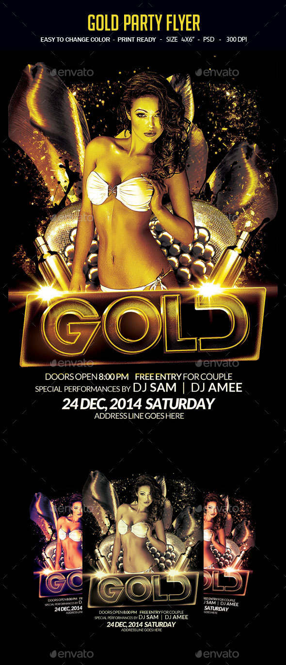 Gold Party Flyer - Clubs & Parties Events