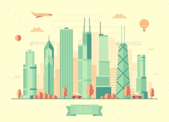 Chicago Skyline Vector Illustration Flat Design - Concepts Business