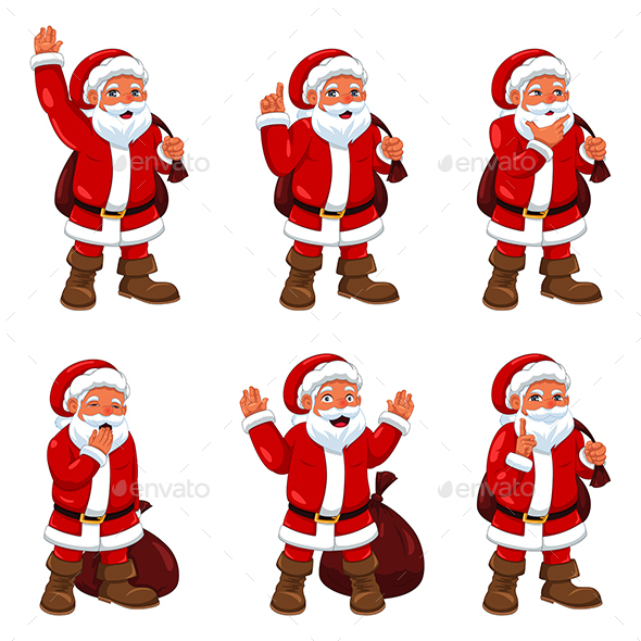 Santa Claus in Different Expressions - Christmas Seasons/Holidays