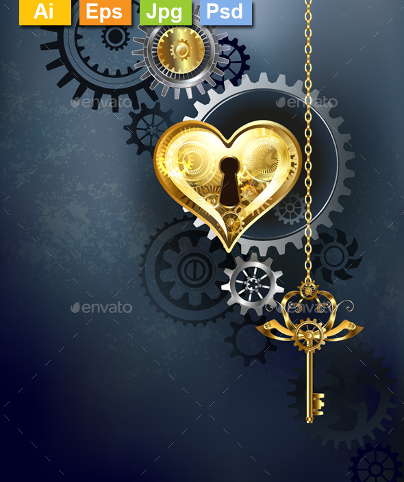 Mechanical Heart with Key - Decorative Vectors