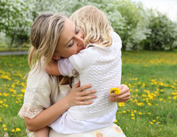girl with mother in the park - Stock Photo - Images