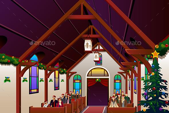 People Celebrating Christmas Eve Inside the Church - Christmas Seasons/Holidays