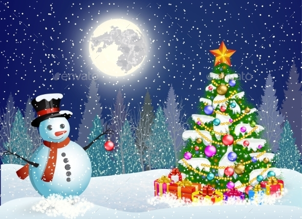 Cute Snowman Decorating a Christmas Tree - Christmas Seasons/Holidays
