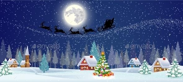 Background  With Christmas Tree And Night Village - Christmas Seasons/Holidays