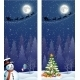Cute Snowman On The Background Of Night Sky  - GraphicRiver Item for Sale