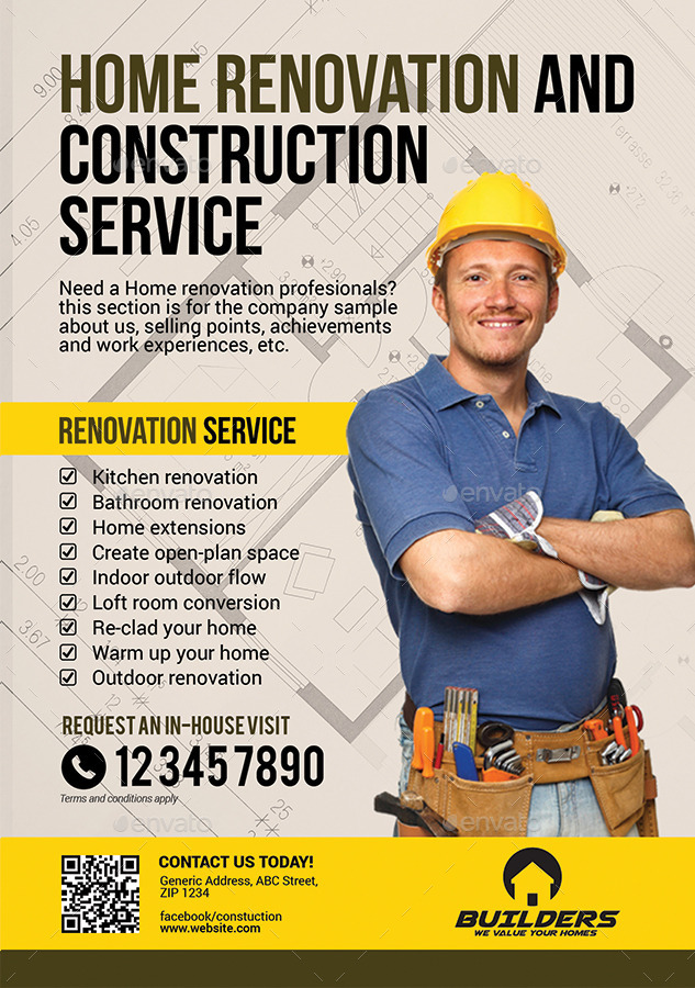 Company construction and building flyer by artchery for House construction companies