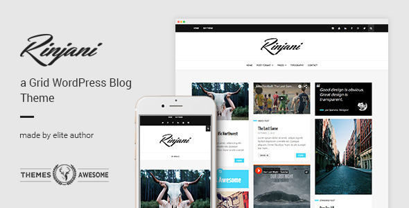 A Responsive Grid Blog Theme – Rinjani