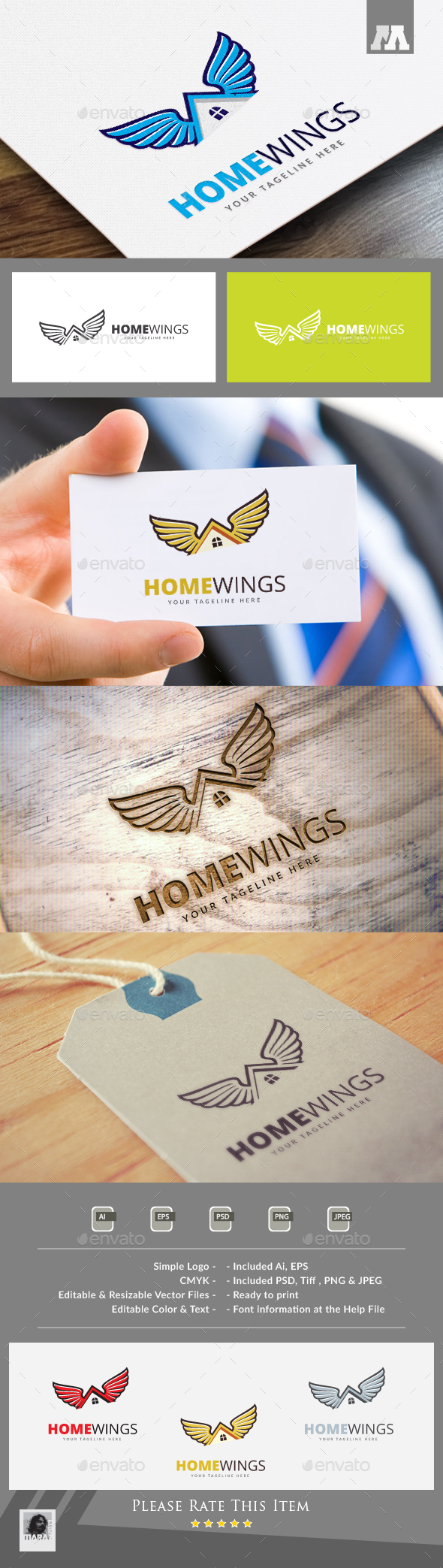 Home Wings Logo - Buildings Logo Templates