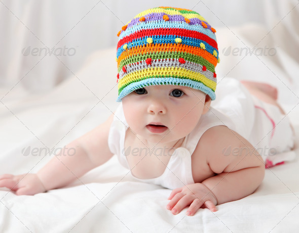 cute baby in hat - Stock Photo - Images