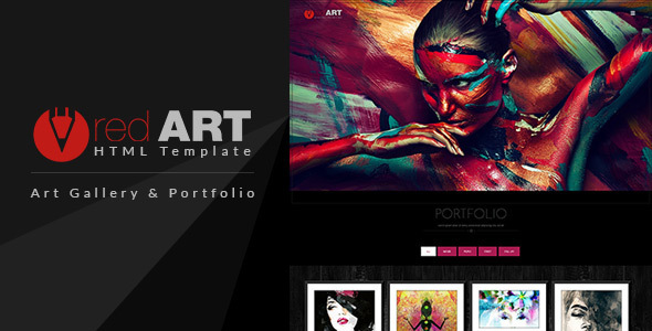 Red art html portfolio art gallery website template by for Top websites for artists