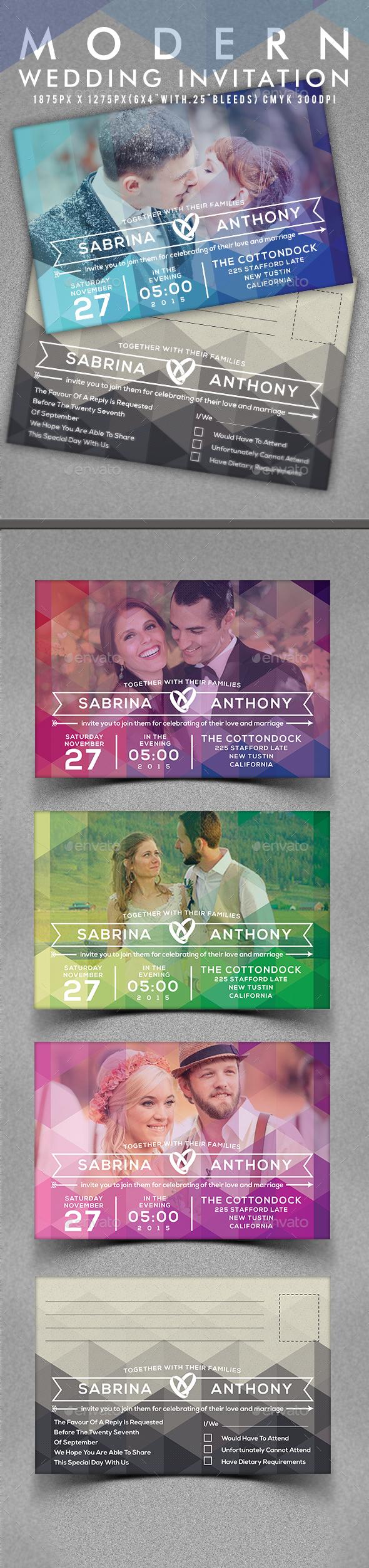 Modern Wedding Invitation - Invitations Cards & Invites