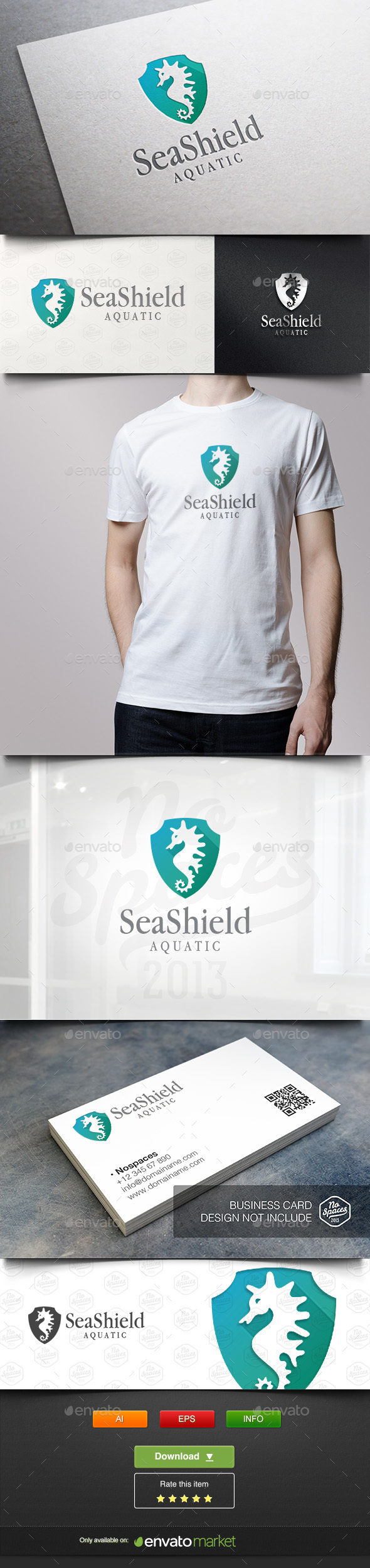 Seahorse Shield - Animals Logo Templates