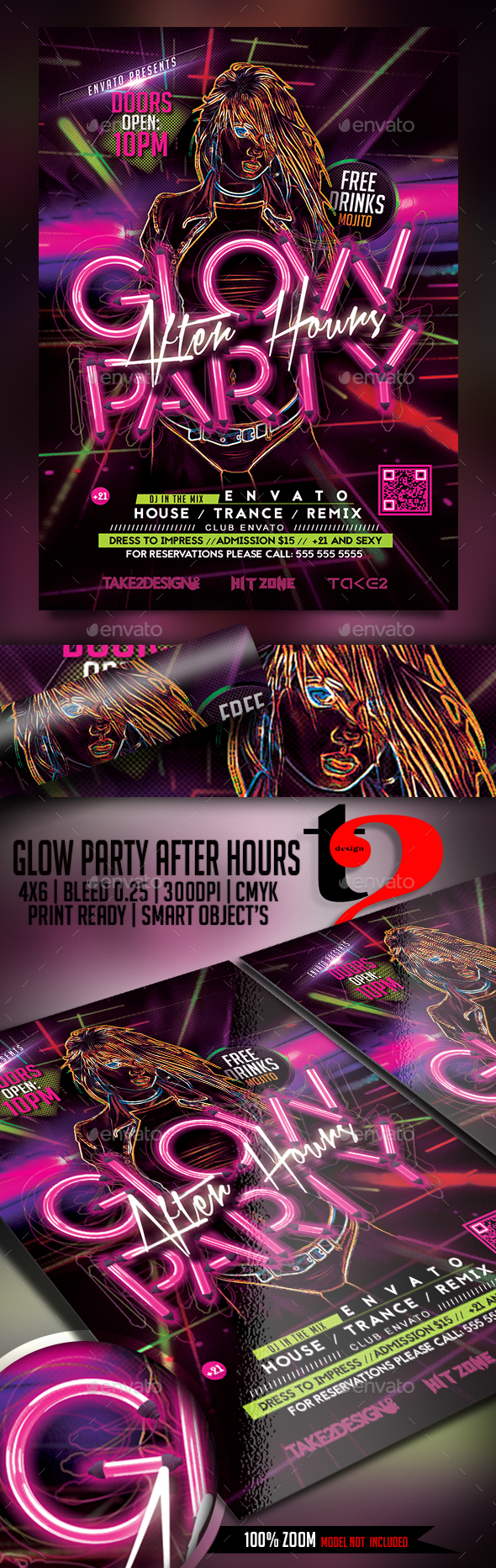 Glow Party - After Hours Flyer Template - Clubs & Parties Events