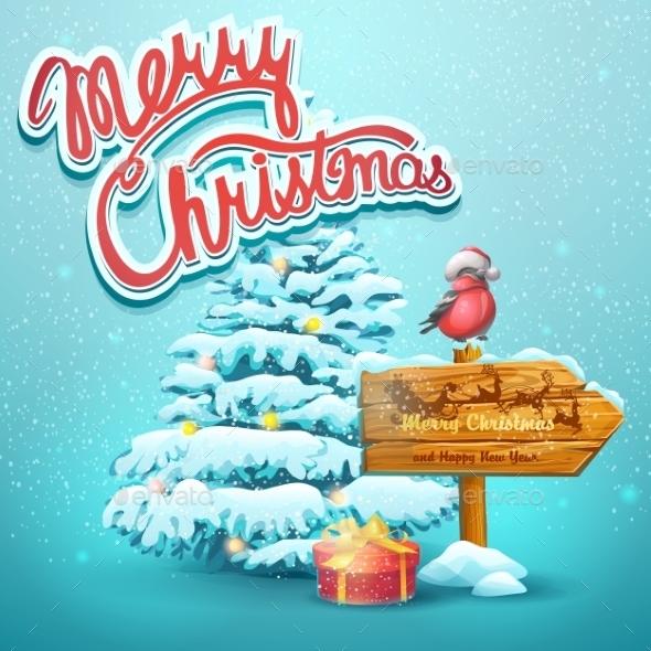 Christmas Illustration With Fir, Pointer - Christmas Seasons/Holidays