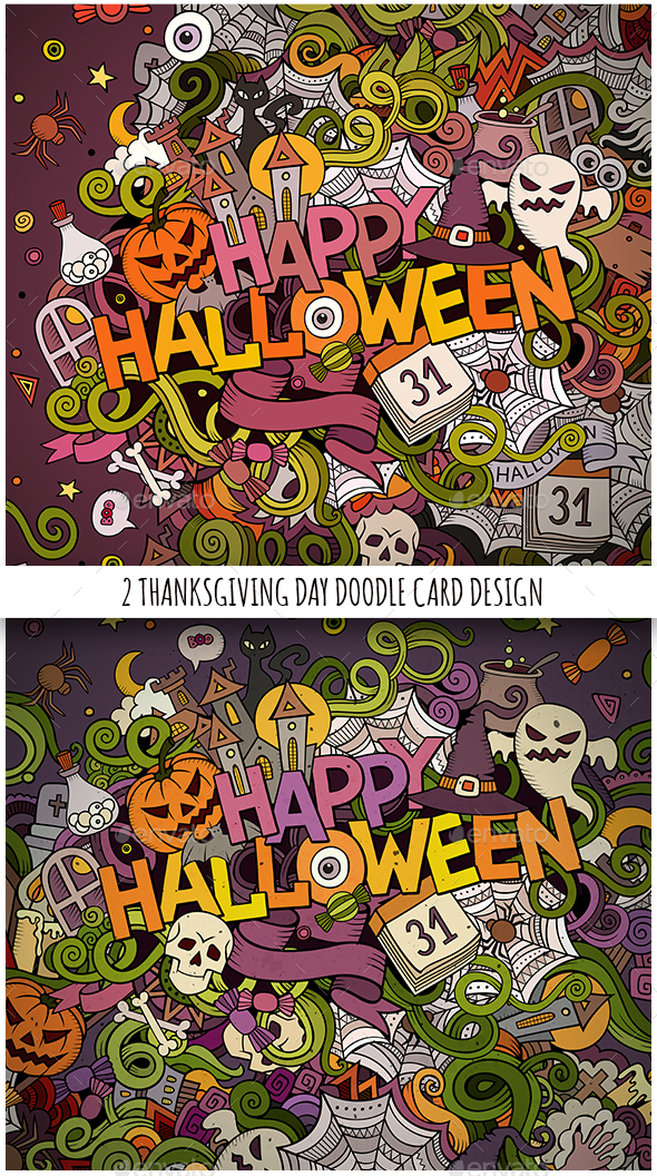 Happy Halloween Doodles Designs - Halloween Seasons/Holidays