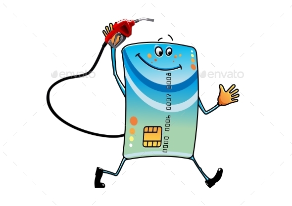 Cartoon Bank Credit Card With Gasoline Nozzle  - Concepts Business
