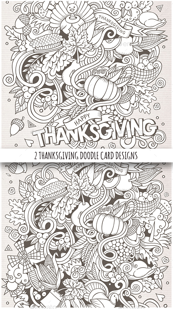 Happy Thanksgiving Doodles Sketchy Illustrations - Miscellaneous Seasons/Holidays
