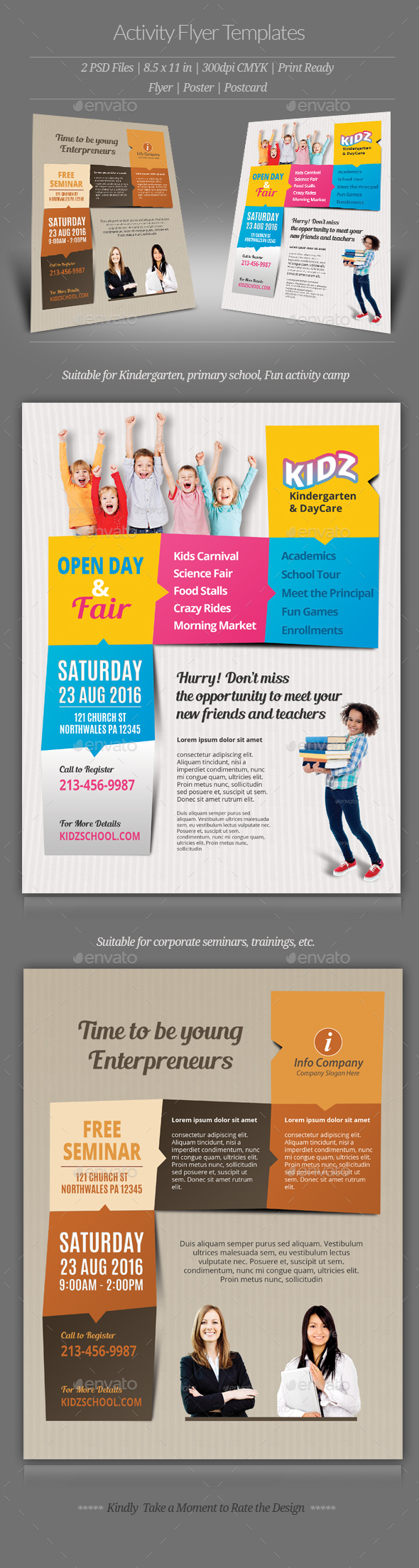 activity flyer templates by geon graphicriver