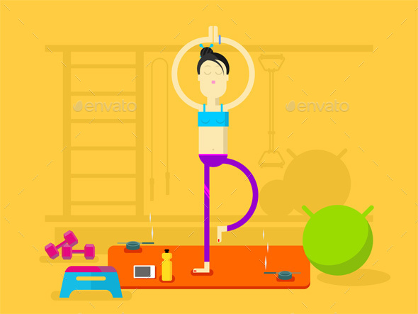 Girl Is Engaged In Yoga - Sports/Activity Conceptual